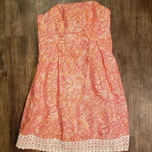 Lilly Pulitzer 2 Strapless Summer Tropical Dress